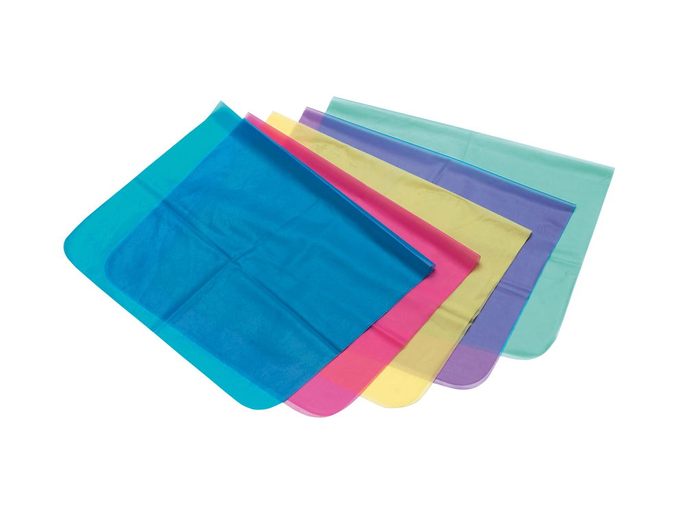 Multicolored dental dams for protection against STDs during oral sex.